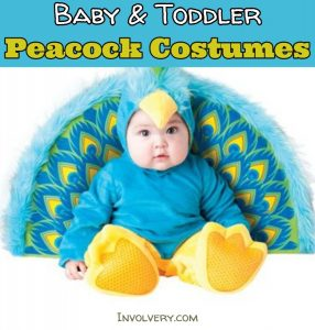 Super cute peacock halloween costume ideas for your baby or toddler (some little girls/tween peacock costumes, too)
