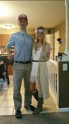 Adorable couples Halloween costume idea - Forrest Gump and Jenny!